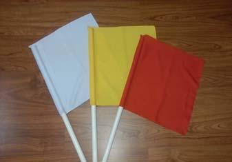 Referee Flags The referee flags are made for referees to signalize their decisions. The flag measures 40 x 40 cm.