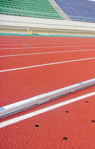 Aluminium Curbing Order No. 11260 The aluminium curbing is made from special made anodized aluminium profiles. It is a mobile marker and separator of the running track.