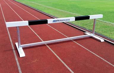 - The black and white upper crossbars are made from timber wood - Weights are welded into the frame thereby ensuring high stability. - Conforming to IAAF rules and IAAF certified.