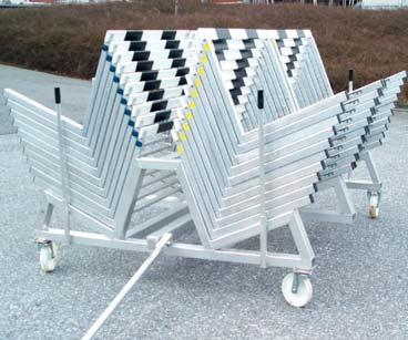 Hurdle Trolley for 40 Hurdles Order No. 10530 Made from special aluminium profiles. It provides place for up to 40 hurdles.