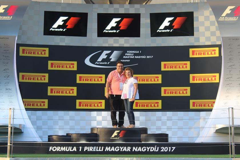 the famed F1 podium, the site of countless celebratory scenes.
