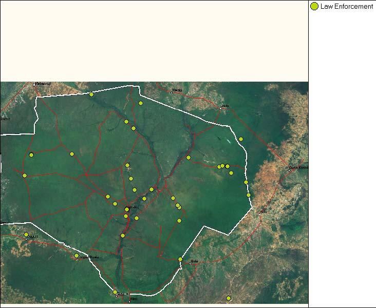 Rangers from Yankari s Central Squad on daily-patrol with driver and CyberTracker.