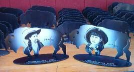 These special buffalo were beautiful hand painted images of Buffalo Bill Cody and Annie Oakley and were given out to Cobra Cat (SASS #19275) and Mesa