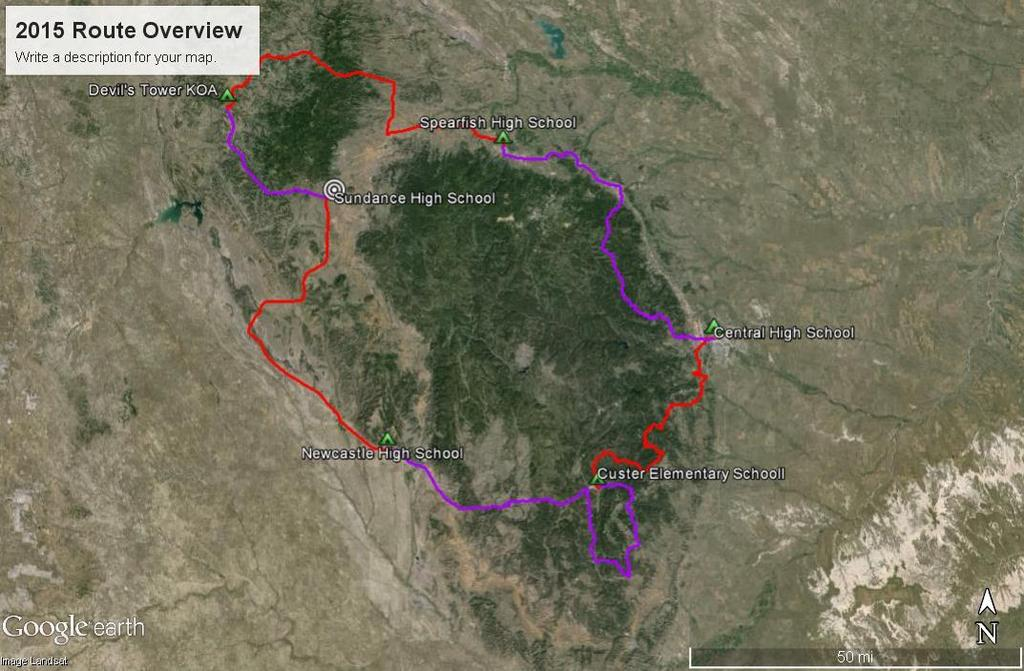 Tour de Wyoming 2015 Route Overview: Route Overview: Gather in Sundance on July 11 Day 1 (July 12): Sundance to Newcastle via Upton Day 2 (July 13): Newcastle to Custer via Wind Cave NP Day