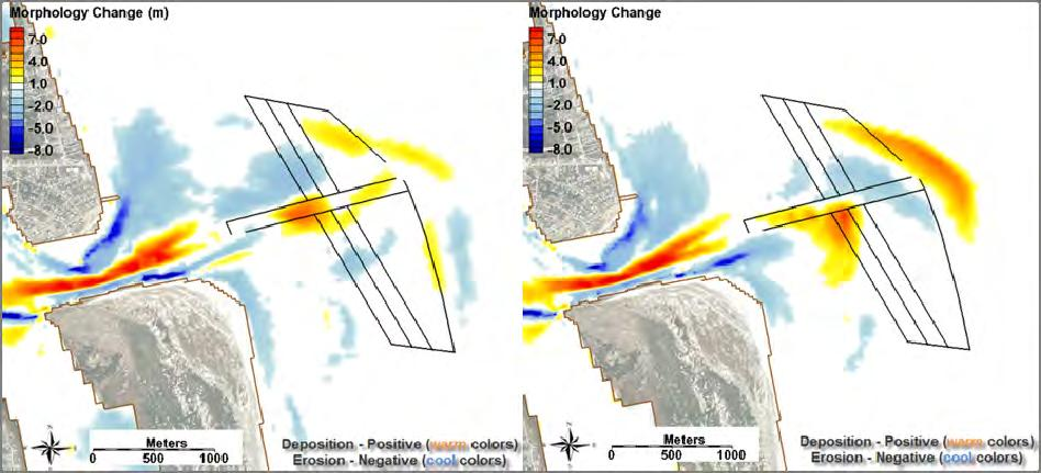 ERDC/CHL TR-12-14 42 Figure 38. Final ebb-tidal delta morphology change with the dredge design template overlaying the a) 2003 existing bathymetry and b) 2003 filled bathymetry. Table 9.