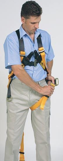 other arm through the other shoulder loop and let harness fall onto the shoulders.