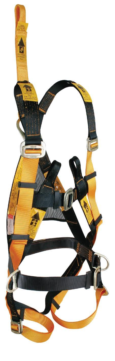 Harness BH02030 Extension strap with fall indicator Confined space rescue loops Front rescue loops or work positioning Computer controlled stitch pattern gives consistent uniformity All metal
