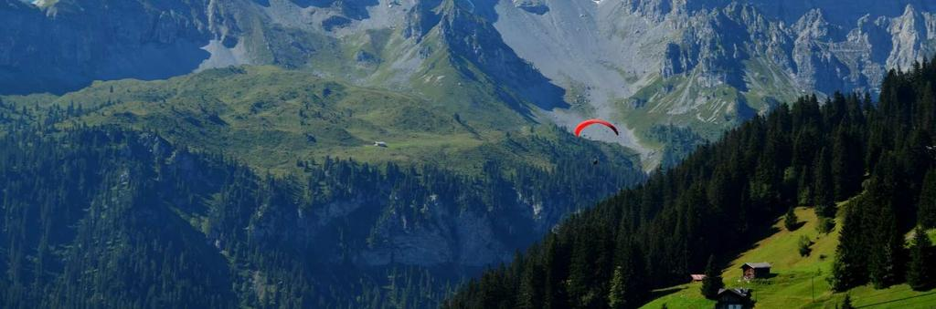 Montain climbing. The steep noth faces of the Bernese Alps attract climbers with challenging tours, offered by experienced professional mountain guides. Paragliding.