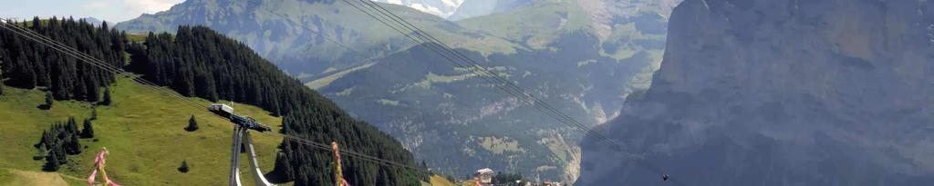 Since Mürren and Gimmelwald are not connected to the Swiss road network, you can only reach the villages by Mürrenbahn (from Lauterbrunnen to Mürren) or by cable car (from Stechelberg to Gimmelwald