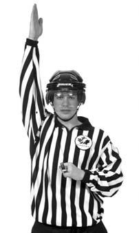 The arm should remain raised until the front Referee or Linesman, either blows the whistle to indicate an icing or until the icing is washed