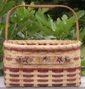 6 ½ high. The braided leather handles add character to this very useful basket.