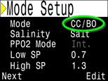 VERSION 34 2016.05.04 The OC/CC mode has been renamed to CC/BO, where BO means bailout. Purpose is to clarify that OC/CC mode was never intended to be used for purely OC dives.