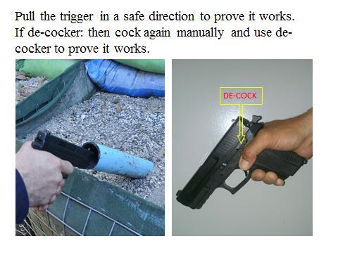 Slide 14 The weapon is now proved to be clear, and the trigger will be pressed. This proves that the trigger is operational.