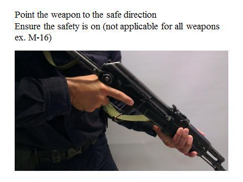 Slide 24 With assault rifles and submachine guns, there will be a safety catch on the weapon; the first thing that should be checked is the