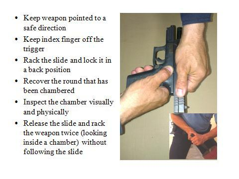 20 3. Making the weapon safe at the end of shift Slide 26 To unload the weapon, remove it from the holster, point it in a safe direction and operate the magazine catch to release the magazine from