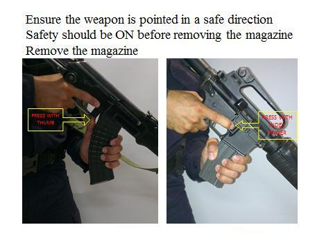 21 Visually and physically check the chamber to ensure there are no more rounds left in the weapon.