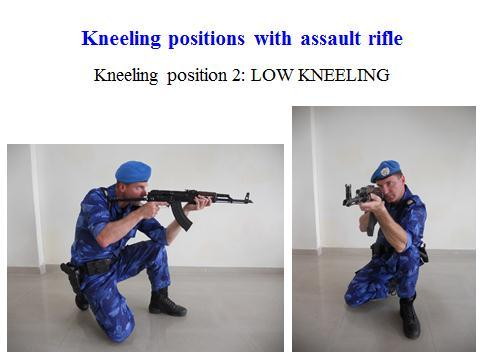 30 Slide 10 For more prolonged time in the kneeling position, the low kneel can be adopted. This allows for three points of contact on the ground, the knee and both feet forming a triangle base.