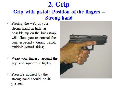 33 2. Basic principles of marksmanship; Grip Slide 16 Place the web of your strong hand (V between your thumb and index finger) as high up