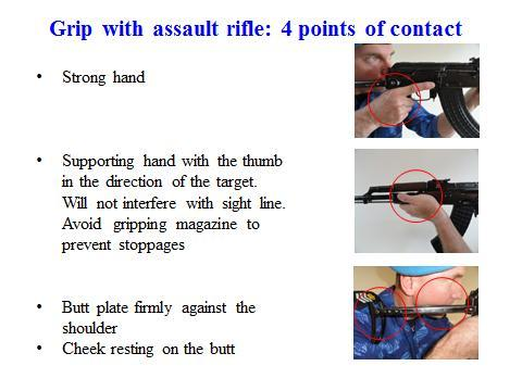 34 Grip should be 60 percent support hand and 40 percent strong hand. When applied properly; wrist of the support hand will be over the wrist of strong hand.