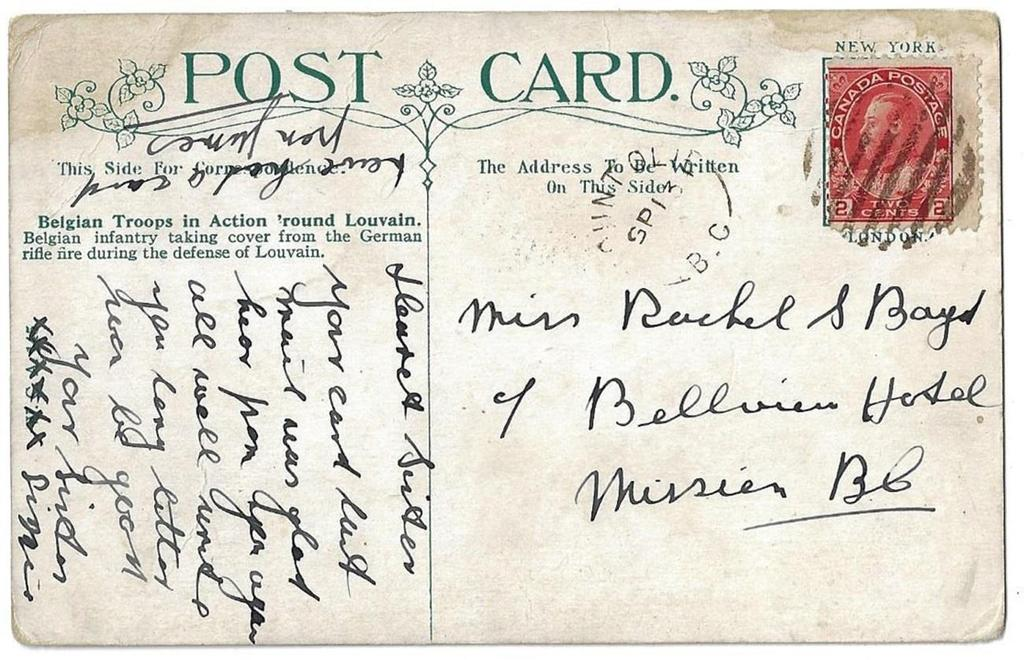 Item 272-21 Mount Olie BC (RF D) c1920, 2 Admiral tied by grid cancel from Mount Olie BC on postcard to Mission. (1910-1935). $75.
