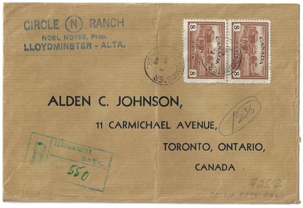 registered letter rate to Toronto.