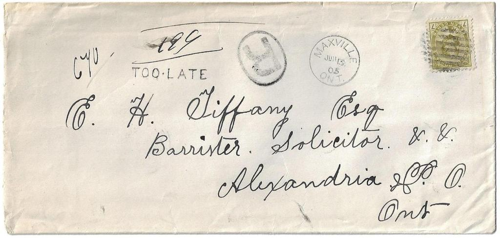 Item 272-25 7 registered, Quebec RPO 1905, 7 Edward tied by grid cancel on cover from Maxville Ont