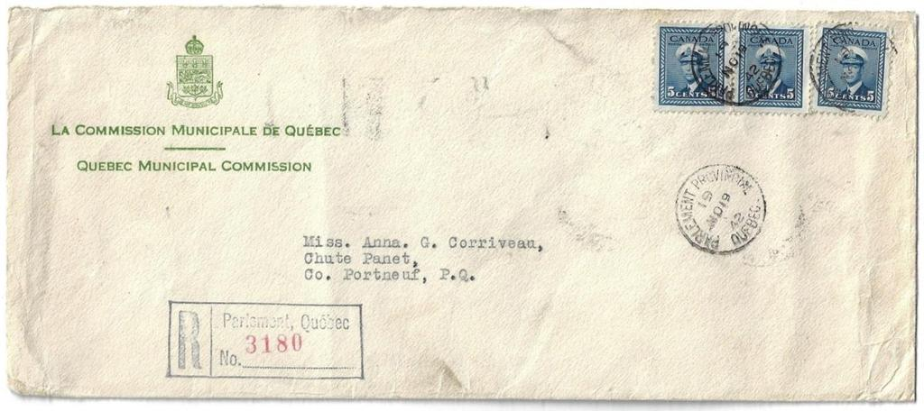 Item 272-27 Parlement de Quebec 1942, 5 War Issue (3) tied by Parlement Provincial de Quebec cds on cover
