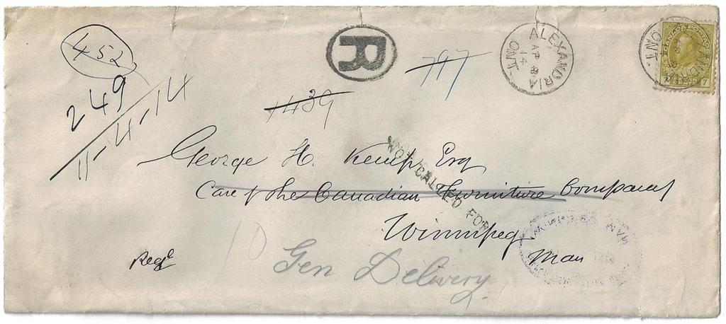 Item 272-29 Alexandria Ont to Winnipeg DLO 1914, 7 Edward tied by Alexandria Ont cds on cover paying 7 registered letter