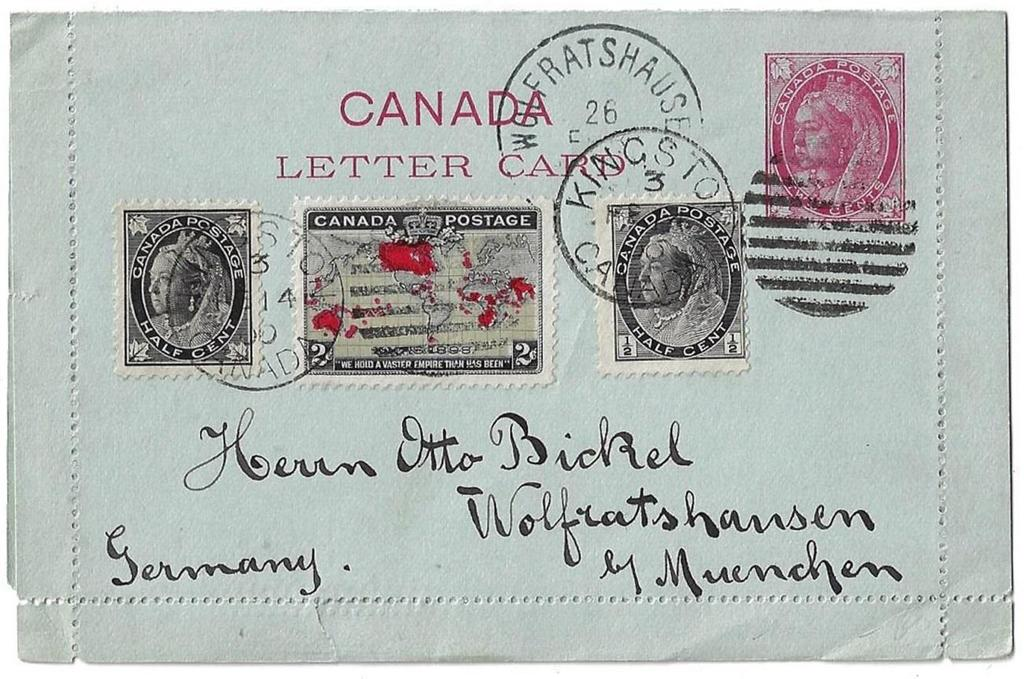 Item 272-02 5 UPU letter rate to Germany 1899, ½ Leaf, ½ Numeral, 2 Map (muddy water, light