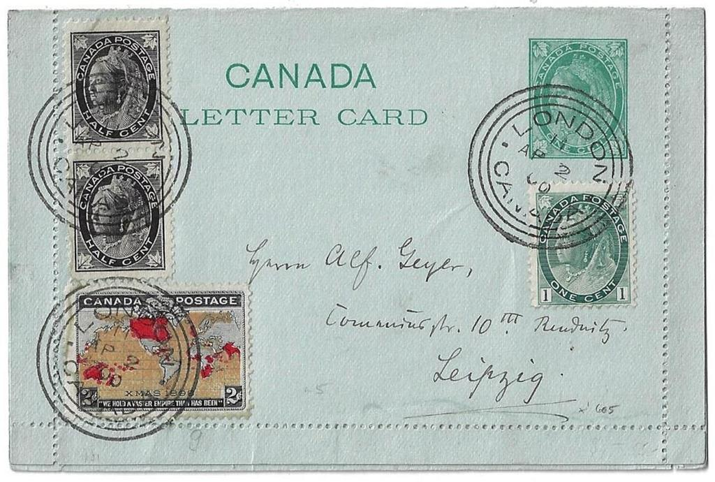 00 Item 272-03 5 UPU letter rate to Germany 1899, ½ Leaf (2), 1 Numeral, 2 Map (muddy water,