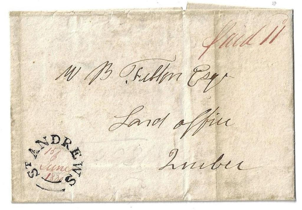 Item 272-34 St. Andrews LC (Argenteuil) 1830, stampless folded cover from St.