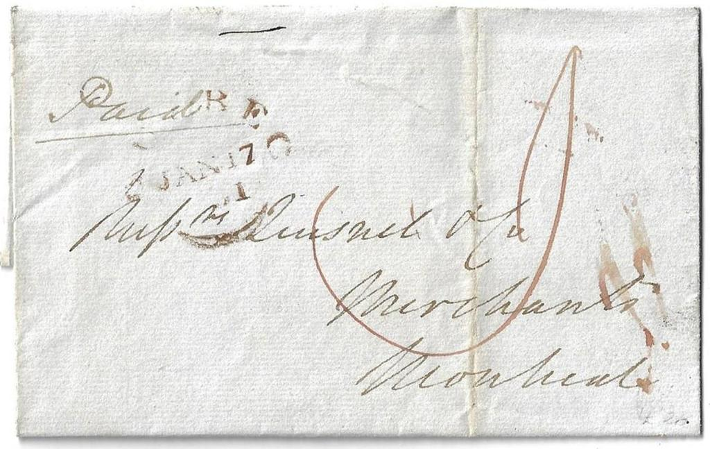 Item 272-36 Quebec fleuron (late) 1831, stampless folded cover from Quebec