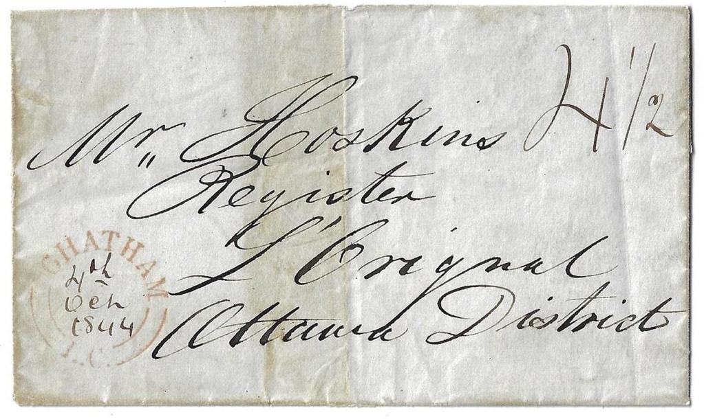 Item 272-40 Chatham Lower Canada 1844, stampless folded cover from Chatham LC 4½d collect to