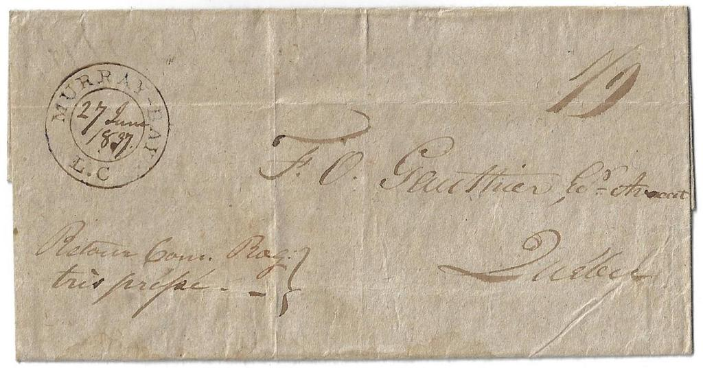 00 Item 272-41 Murray Bay LC 1837, stampless folded cover (turned cover) from Murray Bay LC