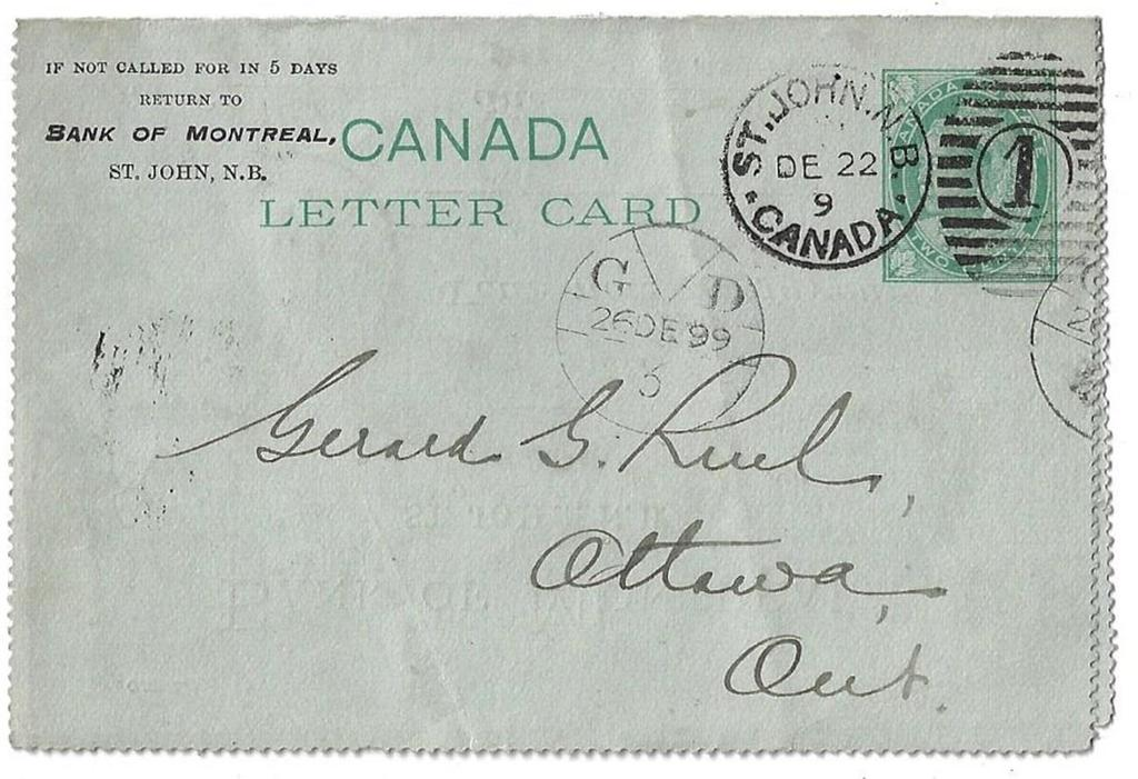 Item 272-06 An early general delivery G D - 1899, 2 letter card with pre-printed Bank of