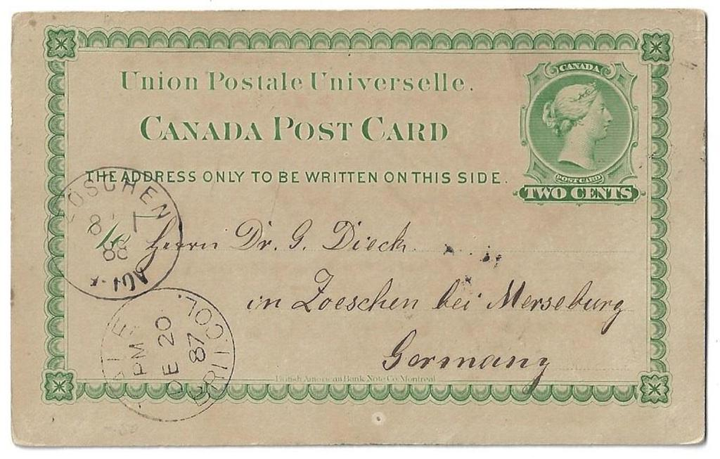 Item 272-11 Yale BC 1887, 2 UPU card from Yale Brit Col paying 2 UPU postcard rate to Germany.