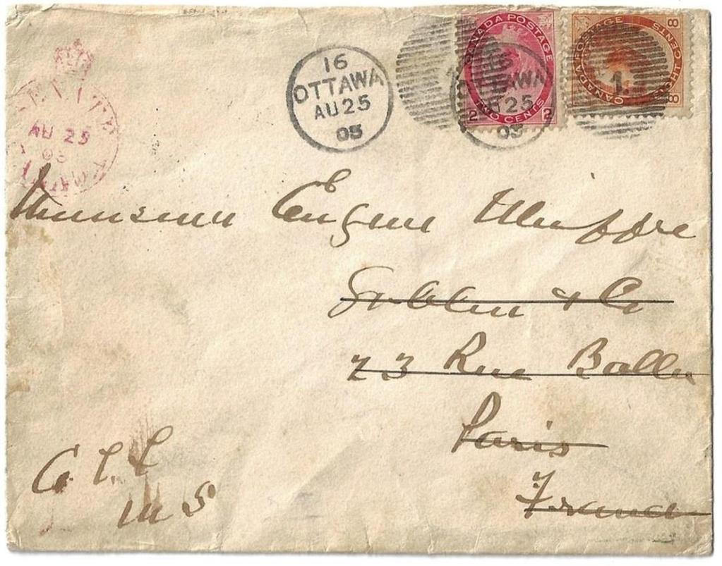 00 Item 272-12 Senate to France 1903, Senate Canada free franked cover to France but not allowed