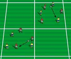 Play for a designated number of goals or for a predetermined time. Set-up: 20 x 20 yard grid.