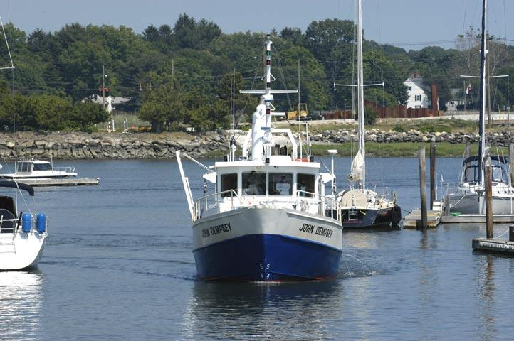 T HE J O HN D E MP S E Y: Connecticut Department of Environmental Protection s largest research vessel, the John Dempsey, underway in Milford Harbor during a day of sampling for the