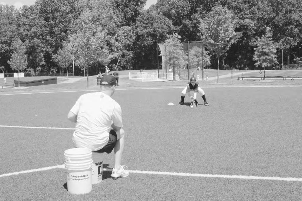 Rolled Ground Balls To help infielders become comfortable with the proper mechanics of fielding a ground ball; verbal cue: wide base, butt down, hands out in front A bucket of balls and a coach to