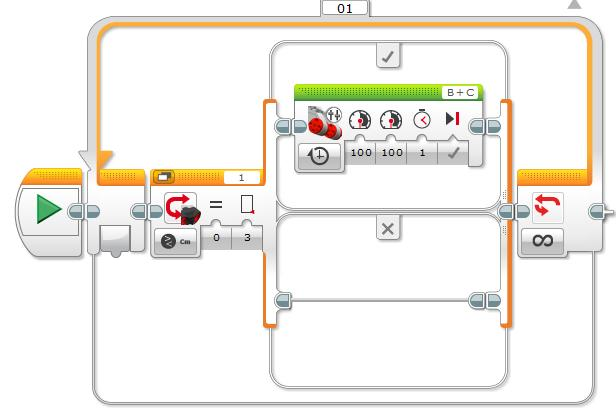Programming(cont) Now change the switch from Touch Sensor to Untrasonic/Compare/Distance cm.