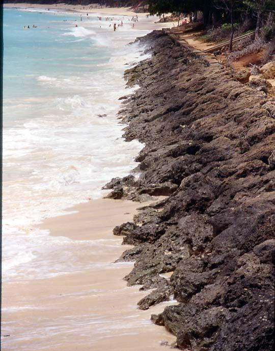 This beach is eroding because the wall traps sand.