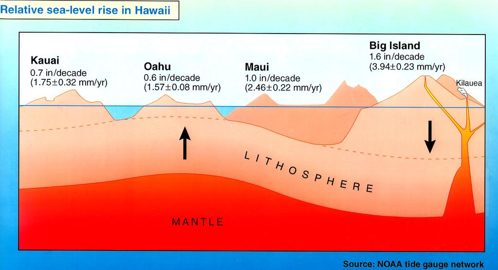 Global and Local Sea-Level Rise Every island has its own rate of sea-level rise. Downward push at hotspot causes upward bulge under Oahu.