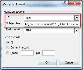 Select the heading of the column in which the email addresses are stored and enter a