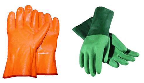 PPE Protection for Hands Acid Gloves (orange) and Solvent Gloves (green) [Photo courtesy of MATEC] When working in a cleanroom environment, it is necessary to wear gloves to protect hands from