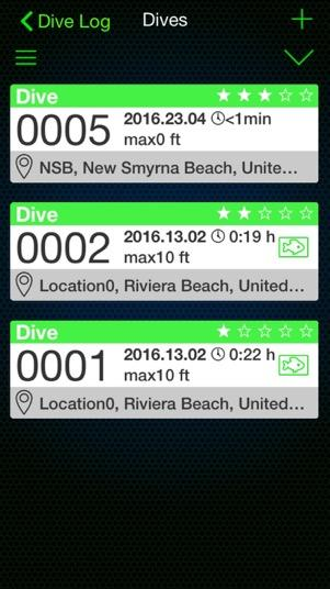 coordinates, weather conditions, dive gear used, gas mix and tank information, tank pressure