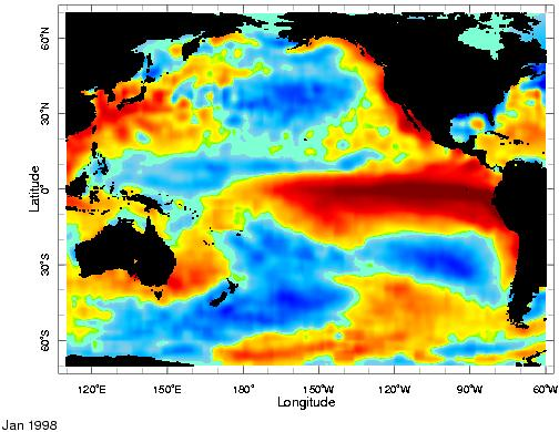 The 1997-98 El Niño Sea surface temperature anomaly map shows warming during severe 1997-98 El Niño Internet site for El Niño visualizations Current state of http://www.cdc.noaa.