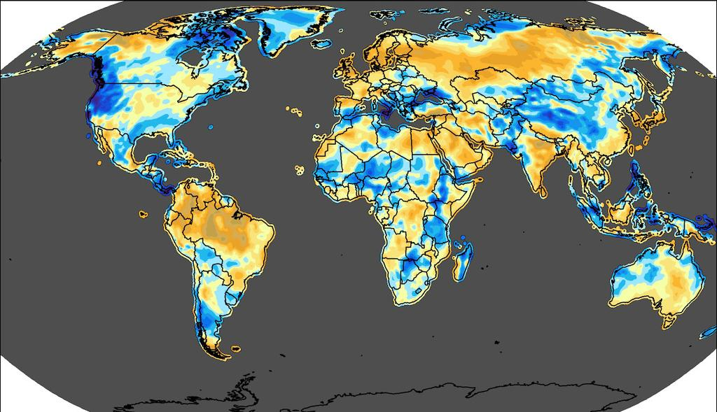 Q4 2013 - Global Wind Anomalies In the final quarter of 2013, winds were generally below normal relative to the long-term fourth quarter average (1988 2012) across western North America, Central