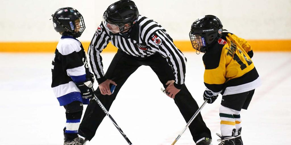 OFFICIATING GUIDELINES Hockey Canada recommends the inclusion of Officials at the Tyke and Novice levels (ages 7 8 years old). At this level a one (1) Official system will be employed.