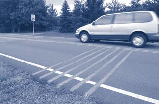Rumble Strips Rumble strips are textured pavement which use stamped pavement or alternate paving materials to create an uneven surface for vehicles to traverse.